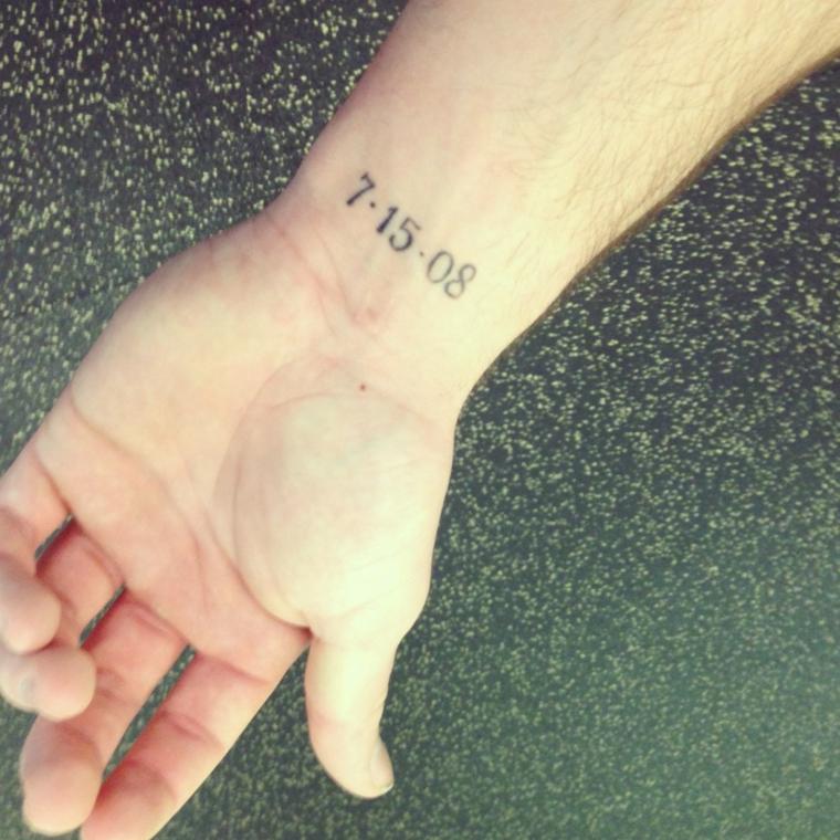 Catalogo tatuaggi, tattoo sul polso della mano, tatuaggio con numeri arabi