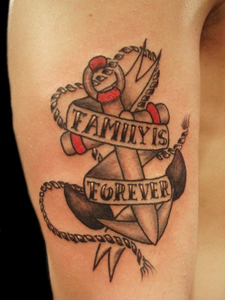 Disegno tatuaggio ancora, tatuaggio con scritta, disegno tattoo colorato
