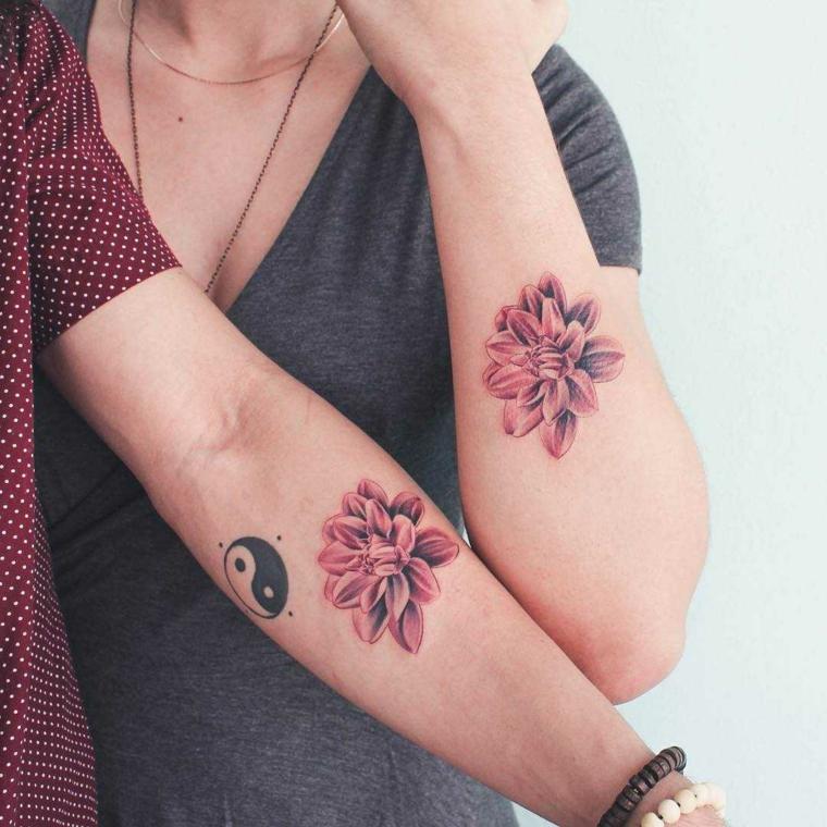 Tattoo yin yang, tatuaggio fiore colorato, tatuaggi migliore amiche, tattoo fiore colorato