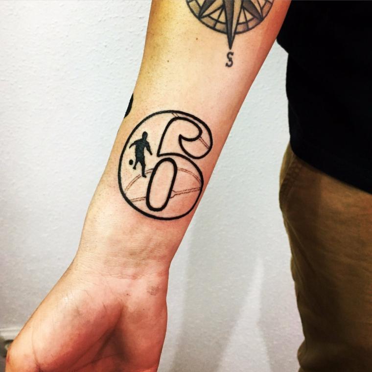 Uomo con tatuaggio sul polso, tattoo numero , disegno bussola avambraccio