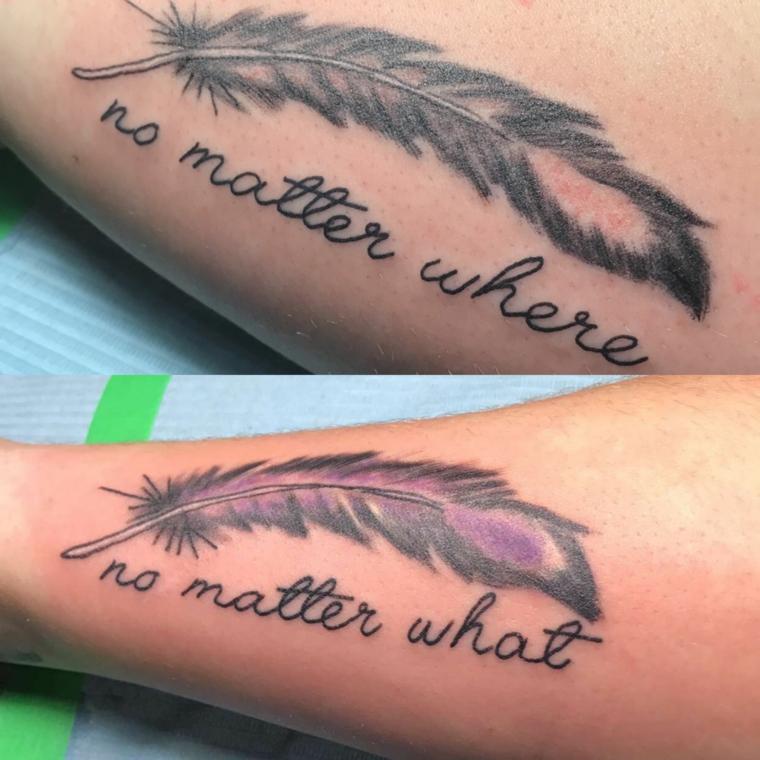 Simboli tattoo, tatuaggio disegno piuma, scritta in inglese, tatuaggio sull'avambraccio
