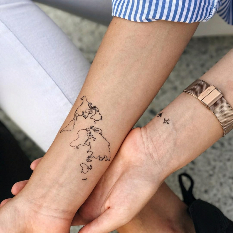 Cartina Mondo Tatuaggio.1001 Idee Per Tatuaggio Mondo Con Immagini A Cui Ispirarsi