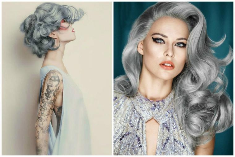 Pettinatura onde morbide, come fare i capelli grigi, donna con tatuaggi sul braccio