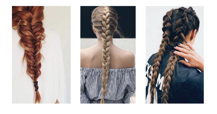 Collage foto con trecce, tre acconciature capelli a treccia, due trecce alla francese