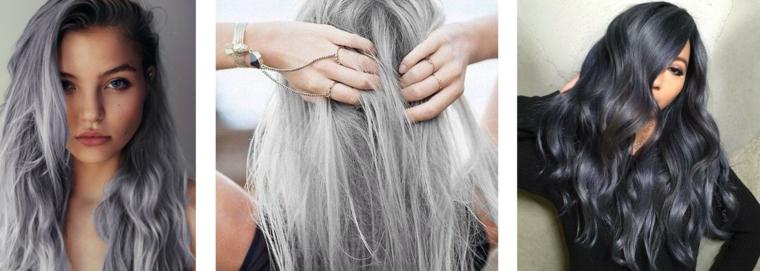 Capelli grigi corti, colorazione nero con sfumature grigie, pettinatura capelli lisci