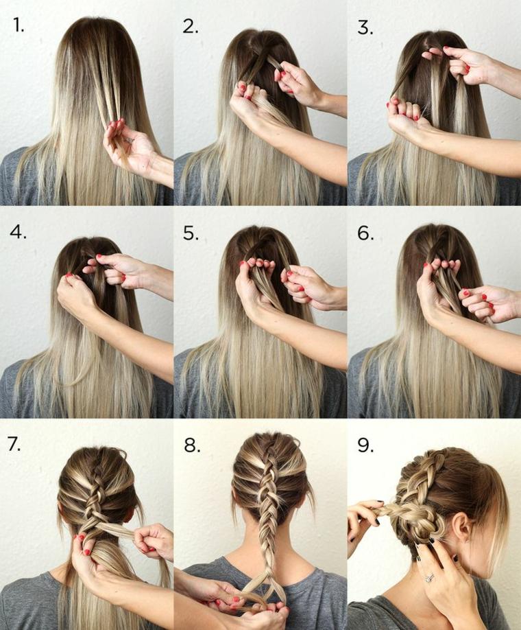 Donna con capelli lunghi, tutorial per fare una treccia, treccia legata a chignon
