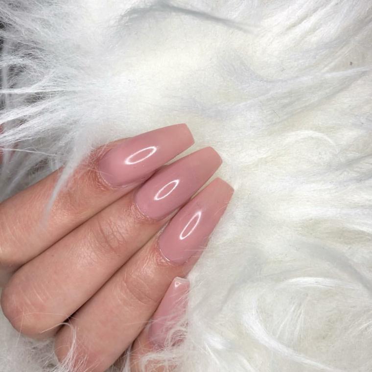 Unghie ballerina, semipermanente colore rosa, unghie gel lunghe