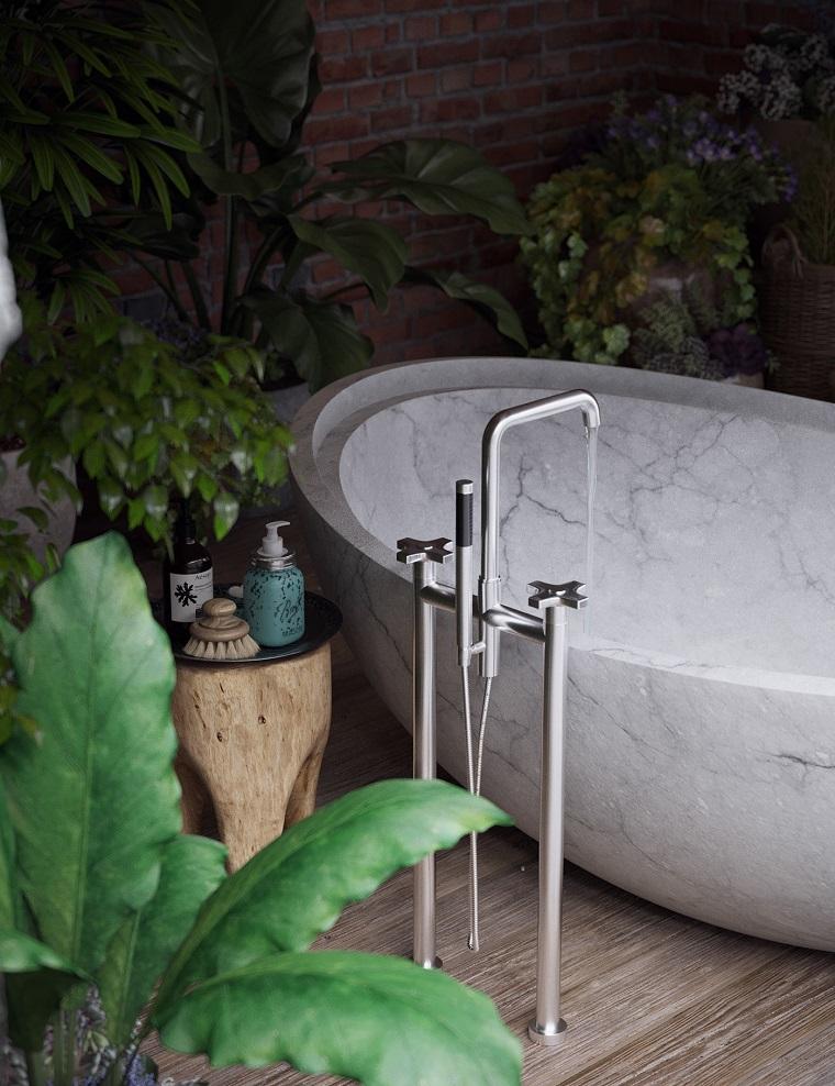 Giardino con vasca da bagno, giardino con piante, pavimento in legno