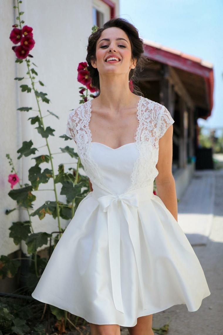 Spalline vestito in pizzo, vestiti da sposa corti, gonna con cintura in vita