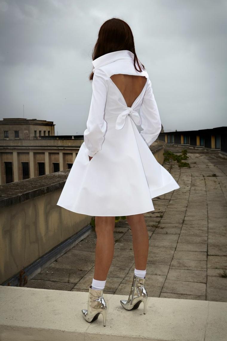 Vestito da sposa bianco, abito da sposa di Alexis Mabille, vestito con schiena scoperta
