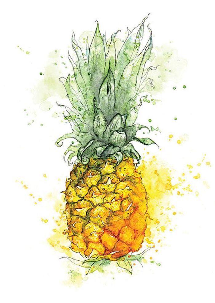 Disegno di un ananas, dipinto con acquarelli, disegni da copiare facili e belli