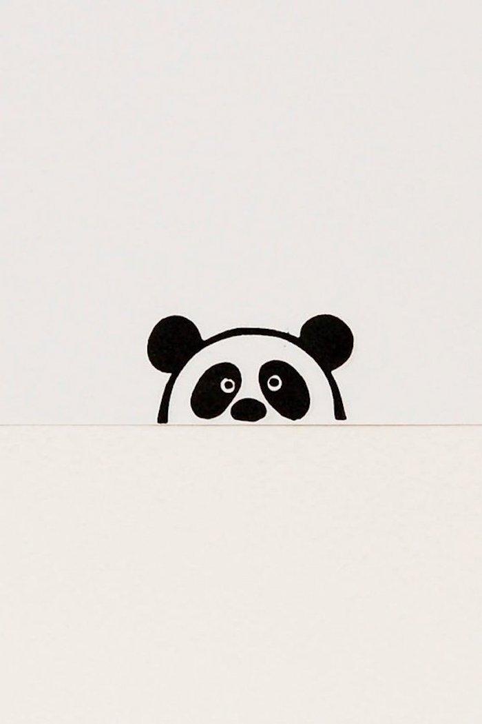 Disegno di una panda, schizzo con pennarelli, disegna e colora, foglio con riga in mezzo