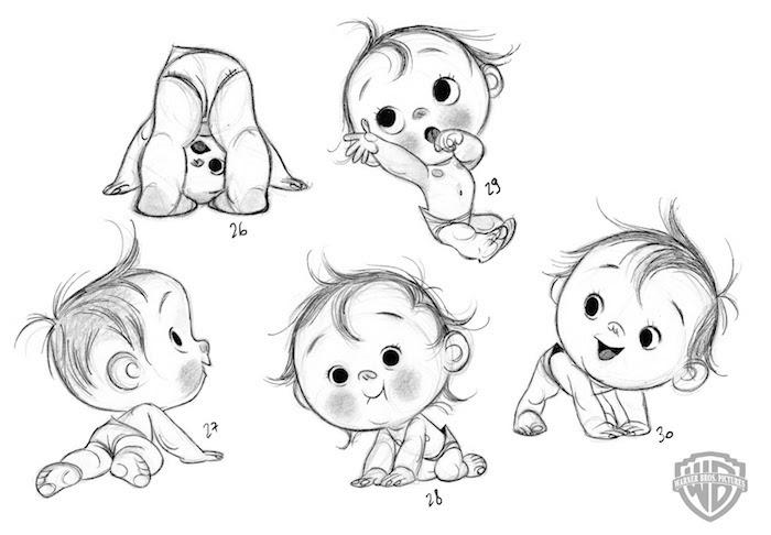 Disegno a matita, schizzo di un bebè, immagini da disegnare, foglio con disegno