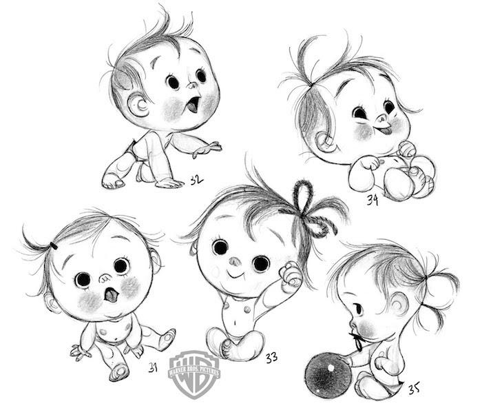 Disegno di un bebè, schizzo a matita, immagini da disegnare, bambina con codini