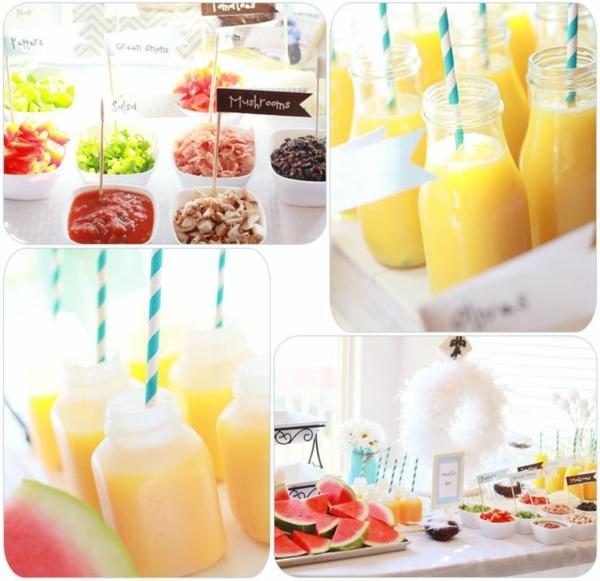 Barattolo di vetro con succo, tavolo buffet, ciotole con antipasti, fette di anguria, idee brunch
