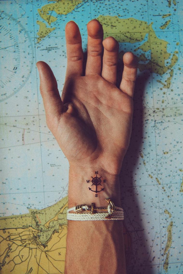 Tatuaggi forza di andare avanti, tattoo sul polso, tatuaggio disegno bussola, mappamondo con coordinate