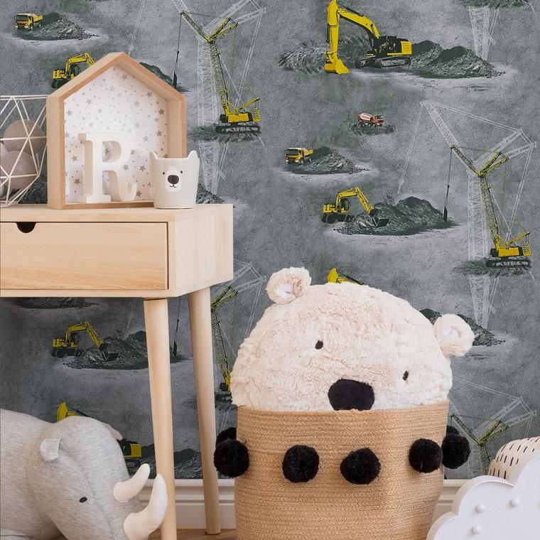 Carta da parati bambini, disegno parete di ruspe, arredamento con mobile di legno