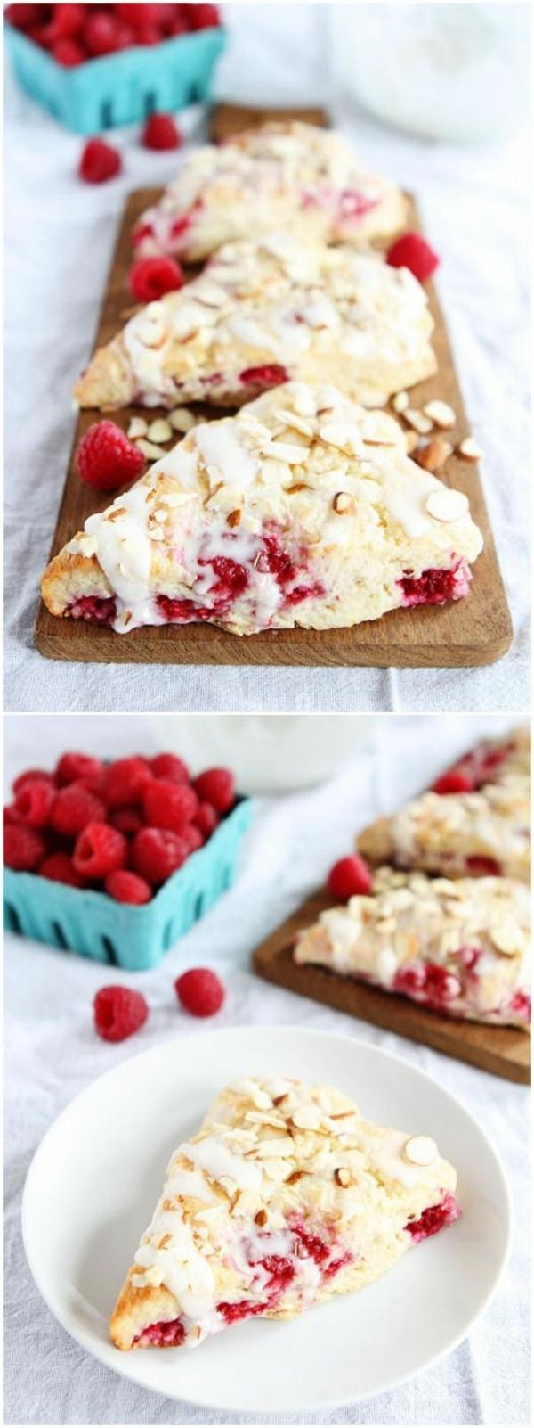 Brunch con torta dolce, decorazione torta con lamponi, glassa di zucchero colore bianco