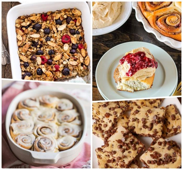 Colazione con torta, cereali e frutti di bosco, torta al cioccolato