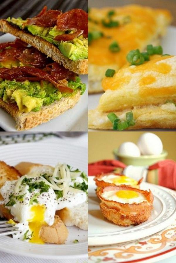 Toast con guacamole, panino con becon, uova in camicia, muffin con uovo occhio di bue