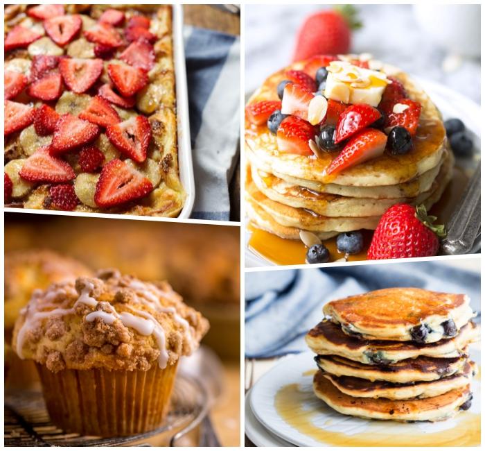 Colazione con pancakes, pancakes con sciroppo d'acero, torta con fragole, muffin al cioccolato