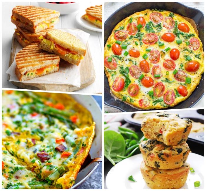 Muffin salta con verdure, panino con uova e pomodori, frittata di uova