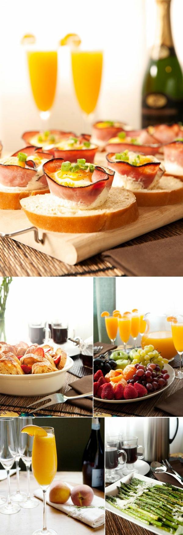 Fette di pane con prosciutto, brunch a buffet, bicchieri con succo di frutta, asparagi con formaggio