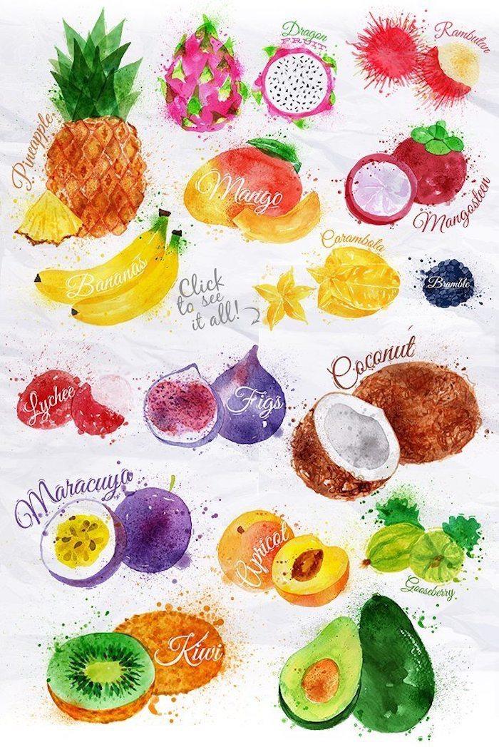Disegno di frutta, schizzo con acrilici, disegna e colora, scritte nomi della frutta
