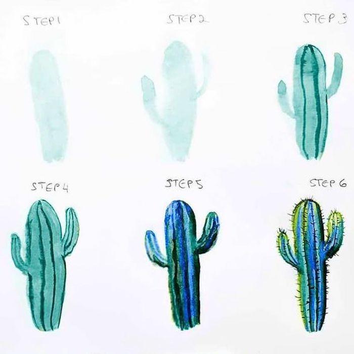 Disegni facili e belli, disegno di un cactus, schizzo con gli acquarelli