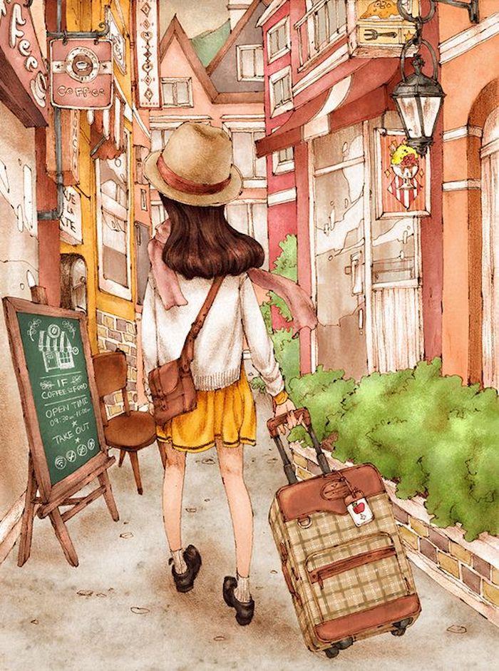 Disegno di una ragazza con valigia, disegno di una strada, dipinto con acrilici, immagini da disegnare