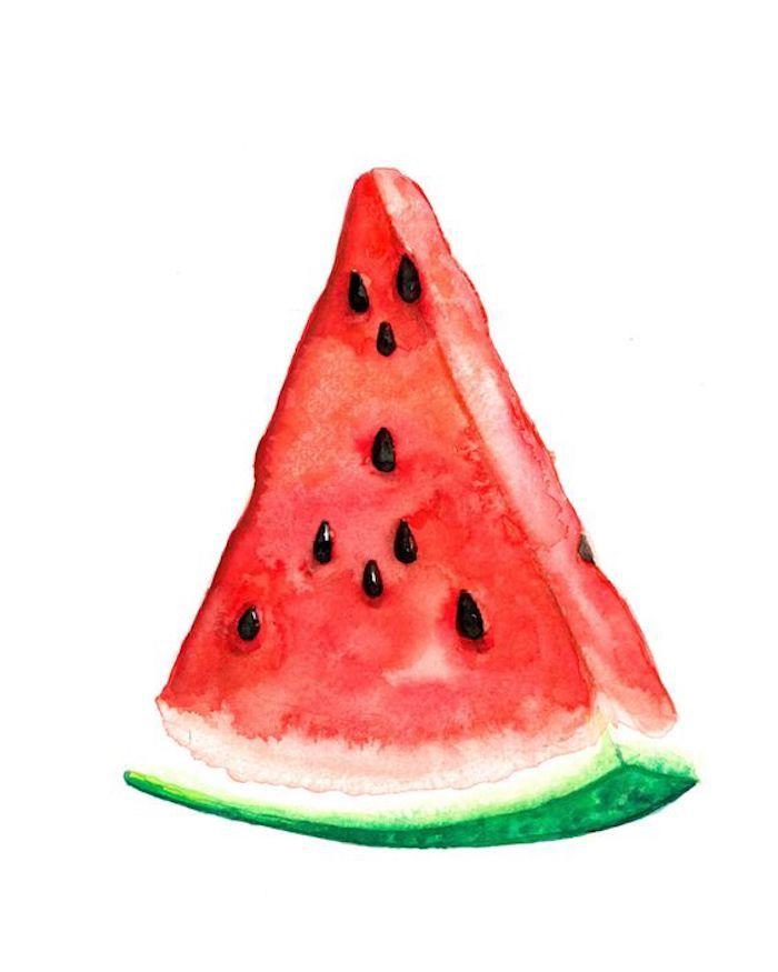 Immagini da disegnare, disegno di un pezzo d'anguria, schizzo con i colori ad acquarello