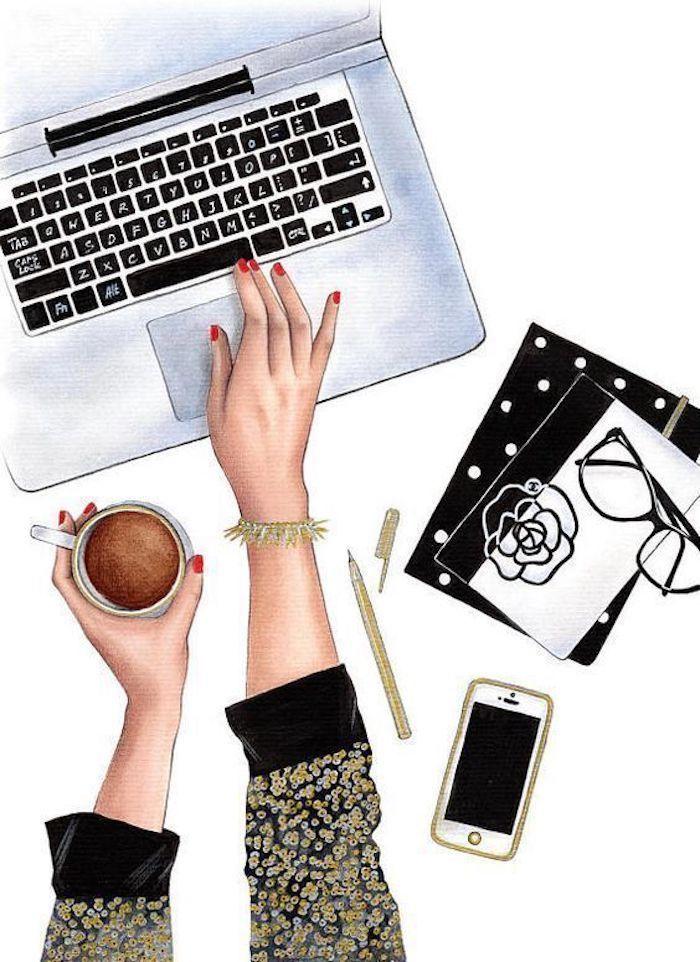 Disegni belli ma facili, disegno con matite colorate, disegno di un computer portatile