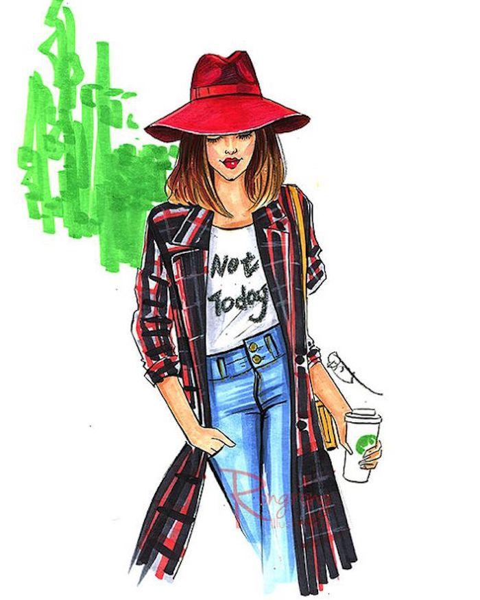 Disegni facili e belli, schizzo di una ragazza, dipinto con matite colorate