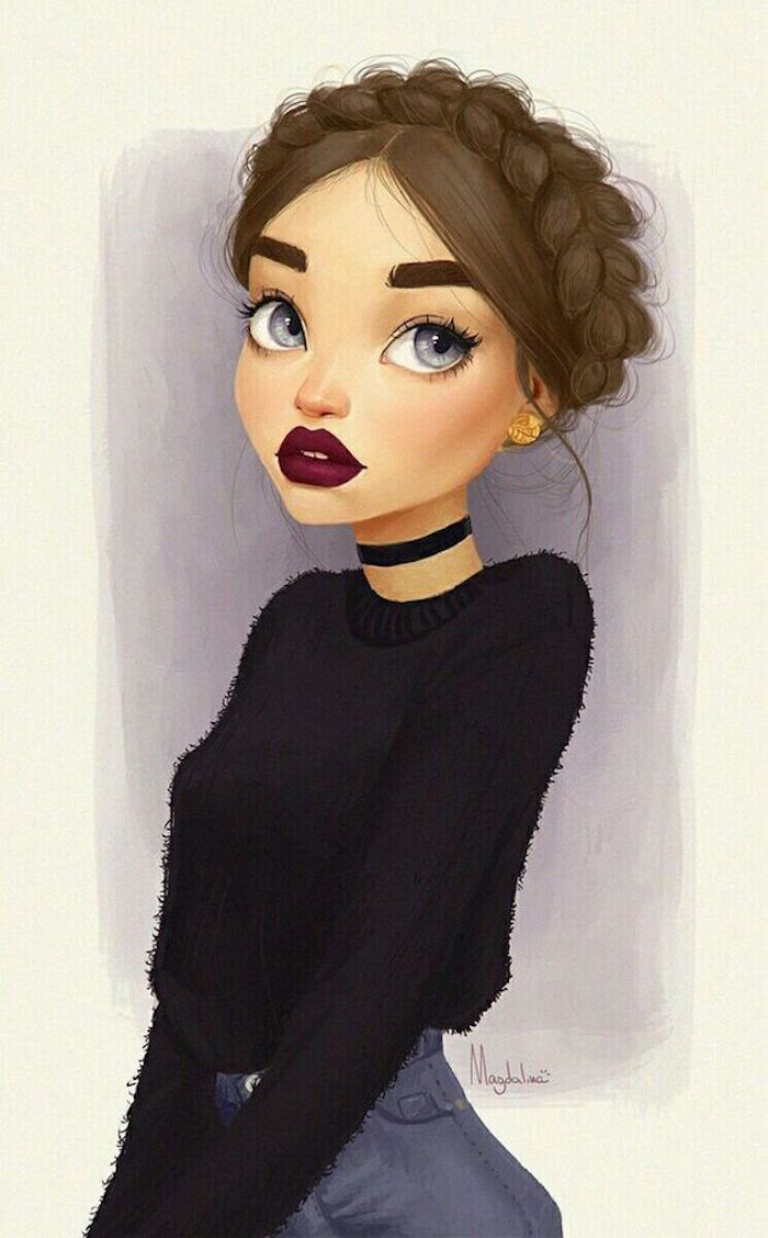 Disegni belli ma facili, disegno di una ragazza, ragazza con capelli treccia, schizzo con matite colorate