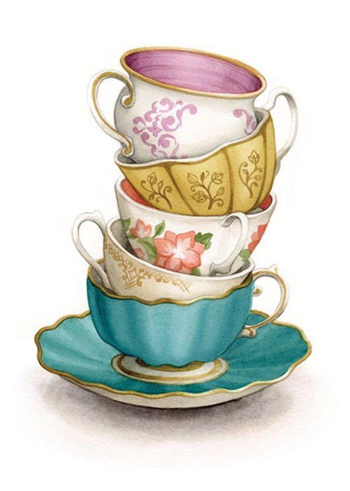 Disegni facili e belli, disegno di tazzine, dipinto con acquarelli, immagine sfondo bianco