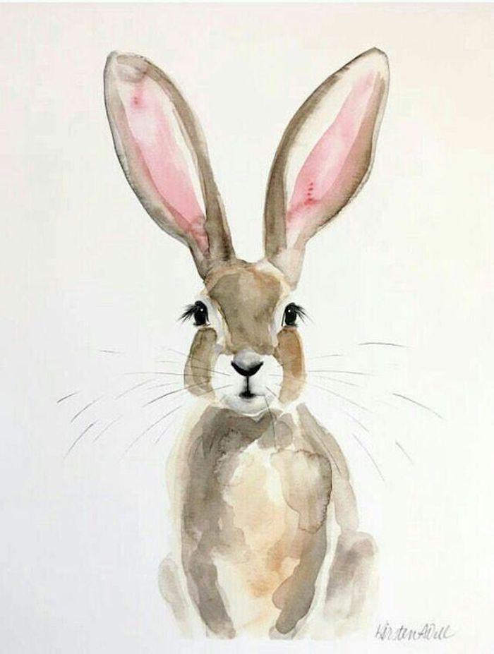 Disegno di un coniglietto, schizzo con colori acquarello, dipinto firmato