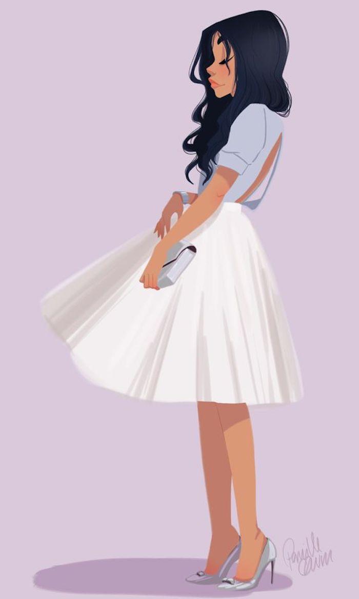 Disegno di una ragazza, schizzo colorato, gonna colore bianco, capelli lunghi e mossi