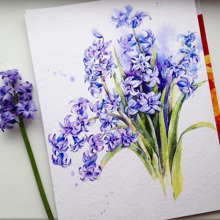 Disegno di un fiorel dipinto con colori acquarello, fiore primaverile