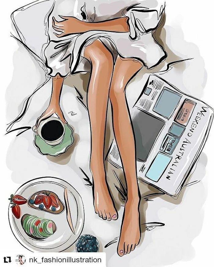 Immagine da Instagram, disegno di una ragazza, colazione a letto, disegna e colora