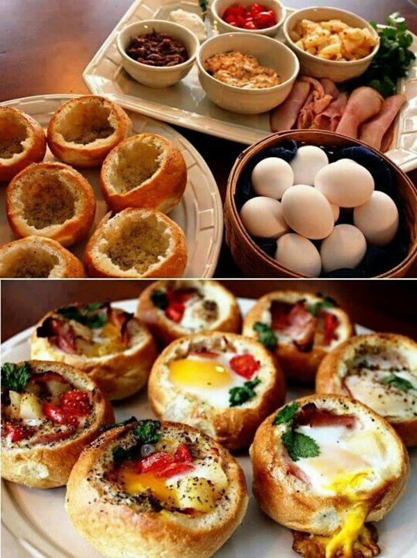 Cibi da brunch, panini ripieni con uova, ciabatta ripiena con verdure, antipasto preparato al forno