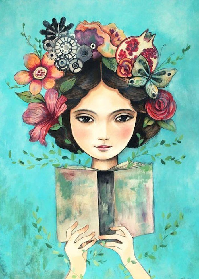 Dipinto con gli acquarelli, disegno di una ragazza, schizzo con fiori colorati