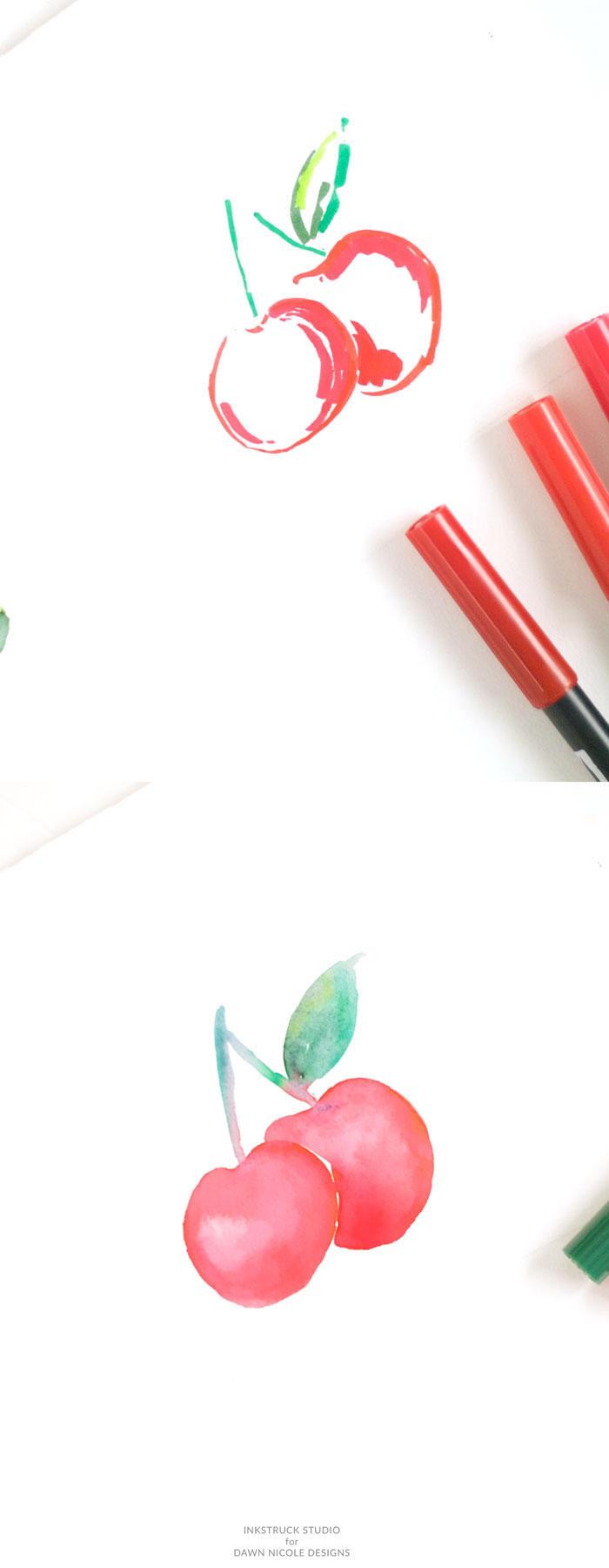 Disegno di ciliegie, disegni belli ma facili, disegno con colori acquarello