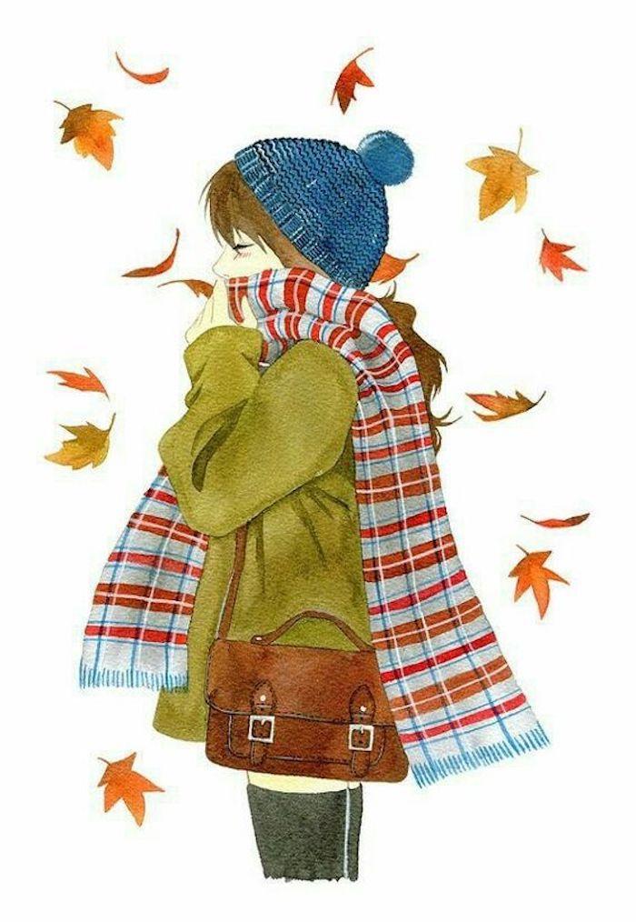 Disegni da copiare facili e belli, disegno di una ragazza, schizzo foglie autunnali, disegno con pastelli