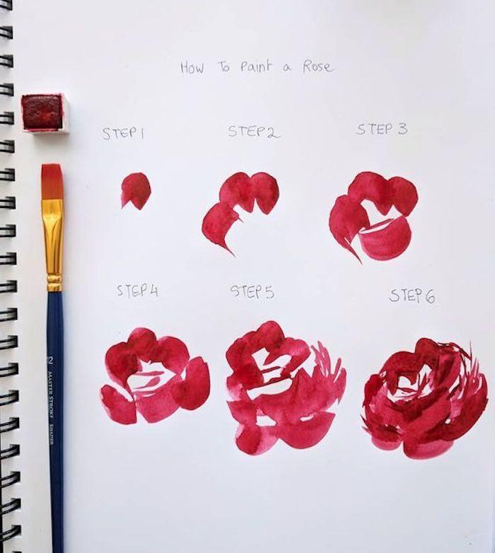 Come disegnare un fiore, fiore con petali rosa, schizzo con acquarelli, disegni da copiare facili e belli