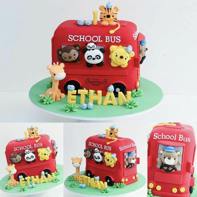 Torte di compleanno maschili, torta decorata con pasta di zucchero, torta scuola bus