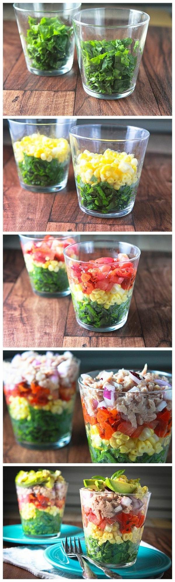 Bicchierini con insalata, brunch con frutti di mare, tutorial ricetta antipasto