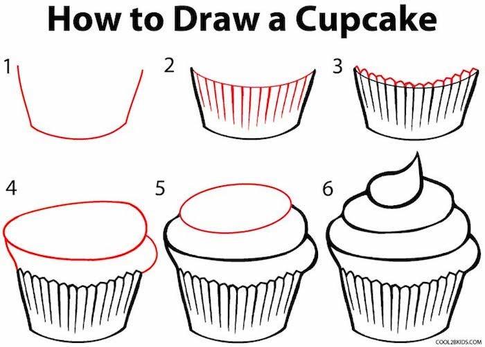 Come disegnare un cupcake, tutorial con numerazione, disegno a matita