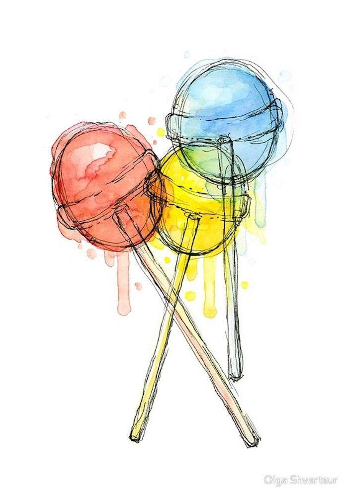 Disegno di tre lecca lecca, pittura con gli acquarelli, schizzo colorata a matita