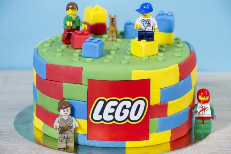 Torte di compleanno per bambini maschi, torta rotonda Lego, decorazioni torta con pasta di zucchero