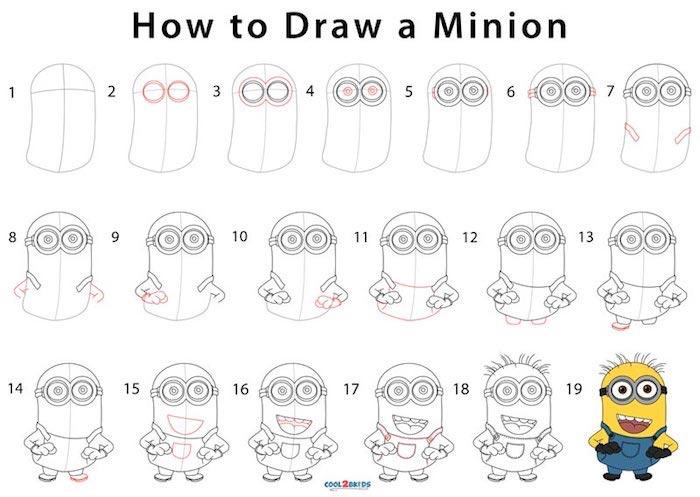 Disegno colorato di un minion, tutorial con passaggi, come disegnare a matita